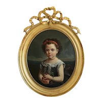Antique painting of a little girl, oil on canvas, dated 1875