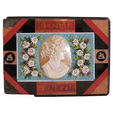 Antique Micro Mosaic paperweight with Cameo, Italy, 19th century