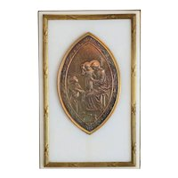 Antique French white marble plaque with gilt silver relief, 19th century