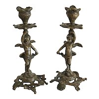 Art Nouveau French Gilt Bronze candle sticks, ca. 1900