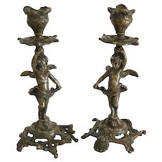 Art Nouveau French Gilt Bronze candle sticks, ca. 1900