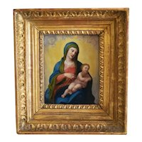 Antique painting depicting the Holy Virgin and the Christ Child, late 18th century