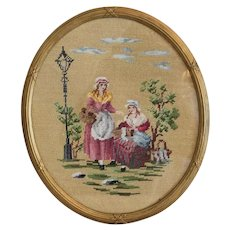 Antique cross stitch needlework, 19th century