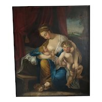 Antique painting depicting a queen and her children, 19th century