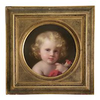 Antique portrait of a little boy, oil on cardboard, ca. 1863
