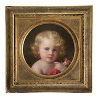 Antique portrait of a little boy, oil on cardboard, ca. 1863