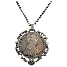 Antique Maria Theresa Thaler with chain, silver, 19th century