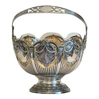Antique Silver bowl with crystal liner, 19th century