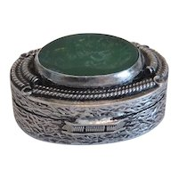Antique silver pill box with green glass Intaglio, 19th century