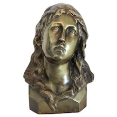 Antique Bronze bust depicting Saint Mary Magdalene, ca. 1900
