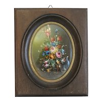 Antique flower Miniature painting, 19th century