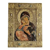 Antique Russian Icon depicting Our Lady of Vladimir, early 20th century