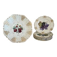 Antique fruit basket with six plates, signed and dated 1888