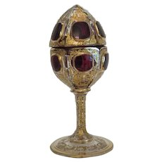 Antique Moser goblet with cover, Bohemia ca. 1900