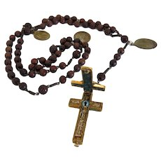 Antique wooden rosary with reliquary cross, 19th century