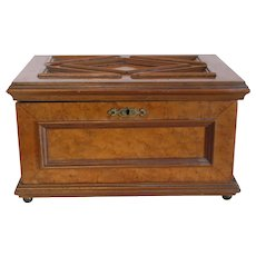 Antique burl wood jewelry box, 19th century