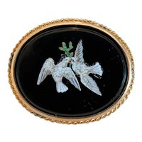 Antique Micro Mosaic brooch, 14k yellow gold, 19th century