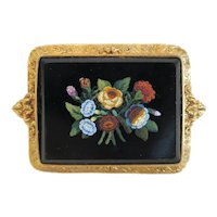 Antique Micro Mosaic flower brooch, 18 k yellow gold, ca. 1840