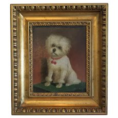 Antique Biedermeier painting depicting a white dog, dated 1852