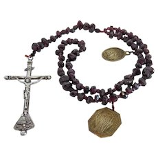 Antique Garnet rosary, silver 800, 18th century