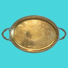 Antique gilt silver tea tray, 19th century