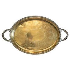 Antique gilt silver tea tray, 19th century
