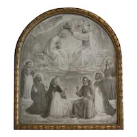 Antique print depicting the Coronation of the Holy Virgin, 19th century