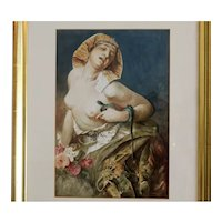 Antique watercolor portrait of Cleopatra, turn of the 20th century