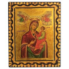 Vintage Greek Icon depicting the Holy Virgin, dated 1988