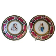 Antique Royal Vienna wall plates, marked and dated ca. 1900