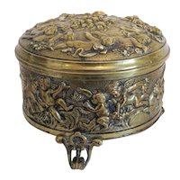 Antique Cherub Gilt Bronze box, 19th century