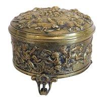 Antique Cherub Gilt Bronze box, 19th century