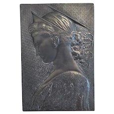 Antique patinated Bronze plaque, 19th century