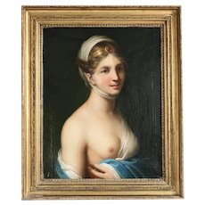 Antique portrait of a young woman,oil on canvas, 19th century