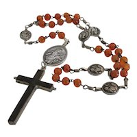 Antique Carnelian bead rosary, 19th century
