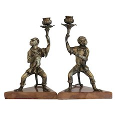 Antique Pair of monkey candle sticks, 19th century