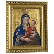 Antique painting of the Holy Virgin and the Christ Child, 19th century