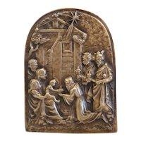Antique Bronze nativity plaque, 19th century