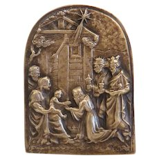 Antique Bronze nativity plaque, 19th century