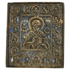 Antique Russian Icon depicting St. Nicholas, 19th century