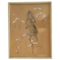 Water color painting depicting three sparrows, signed , dated ca. 1930