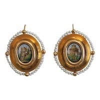 Antique Roman Micro Mosaic earrings, 18 k yellow gold, 19th century