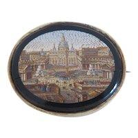 Antique Roman Micro Mosaic brooch, gilt silver, ca. 1840