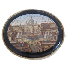 Antique Roman Micro Mosaic brooch, gilt silver, ca. 1840