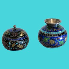 Vintage Enamel Miniature  silver vase and bowl, ca.1950