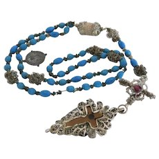 Antique turquoise glass bead rosary , silver filigree, 19th century
