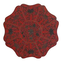 Antique red wooden Chinese box, 19th century