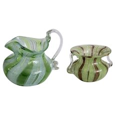 Antique Murano green glass jug and vase,19th century