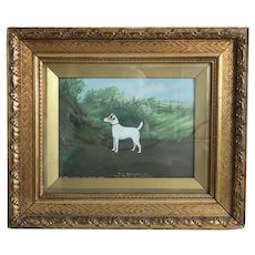 Antique English dog painting, signed William Stevenson 1911