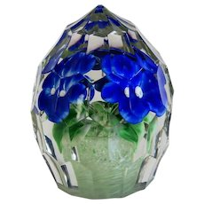 Vintage Bohemian Crystal glass paperweight, ca. 1930